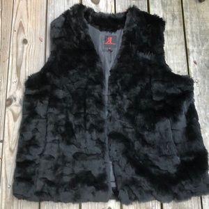 Adrienne Landau Black Faux Fur Sleeveless Vest